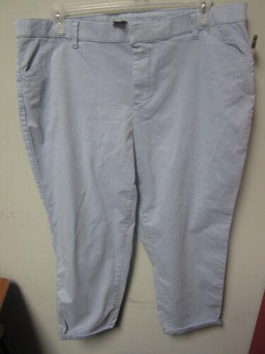 Terra /& Sky Women/'s Plus Blue Water Cropped Chino Boyfriend Pants Size 18W
