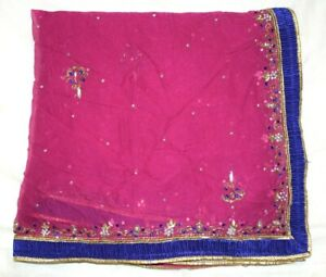 Vintage-Dupatta-Long-Stole-Chiffon-Silk-Pink-Veil-Hand-Emb-Beaded-Tie-amp-Dy