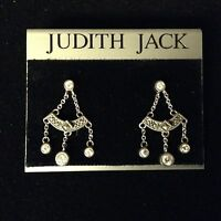 Judith Jack Sterling Silver Marcasite And Clear Stone Chandelier Earrings