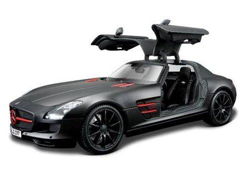 Maisto 1:18 Mercedes Benz SLS AMG Diecast Model Racing Car BLACK NEW IN BOX