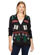 200f9e032db1 Erika Women s Yana Holiday Yay Cardigan Ugly Christmas Sweater Black  Holiday XL