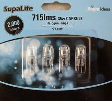 Halogen light bulb capsule 12v G4 base 35w 715lms pack of 4 by Supa