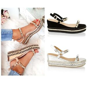 Details about Womens Ladies Mid Wedge Low Platform Heel Stud Strap Espadrille Summer Sandals