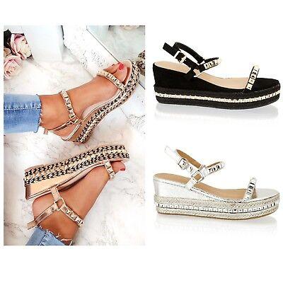 Damen Sommer Sandalen Mittelhoher Keilabsatz Knöchelriemen Strap Buckle Schuhe
