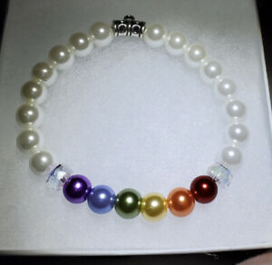 Rainbow-Pearl-Beads-Stretch-Bracelet-8mm-Handmade-no-charm