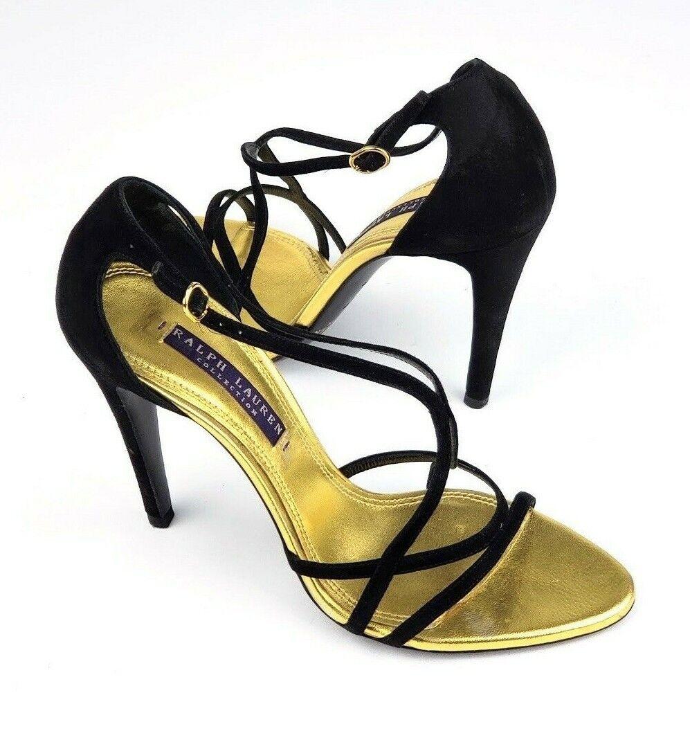 Ralph Lauren Purple Label Black Suede gold Lining High Heels Sandals, Sz 6.5