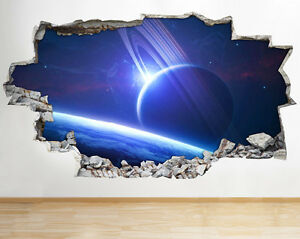 Outer space planets sky blue wall vinyl poster room wall for Foto murali 3d