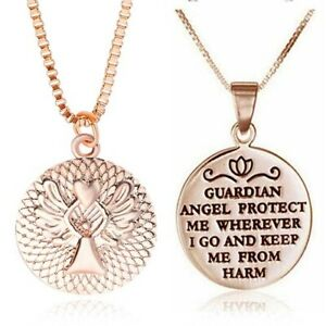 Pendant-Fashion-Angel-Acces-Gift-Necklaces-Rose-Gold-Silver-Women-Guardian-Heart