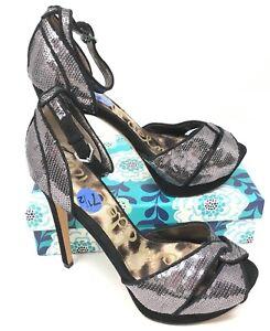 Women-039-s-Sam-Edelman-Palseley-Sz-7-5M-Heels-Ankle-Strap-Open-Toe-Silver-Black-A5