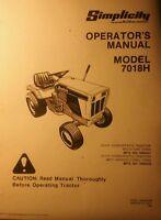 Simplicity 7018h Lawn Garden Riding Tractor Operator's & Parts (2 Manuals) 110pg