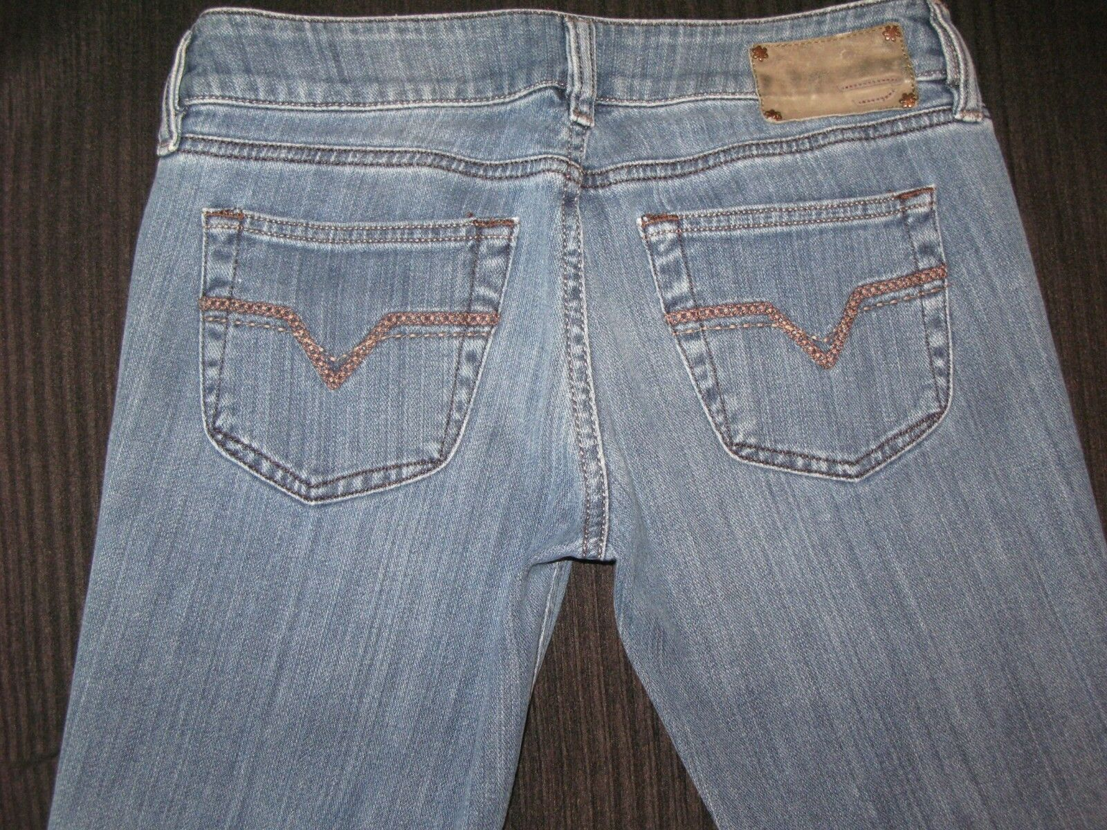 Diesel Louvely Jeans Womens Sz 28 Low Bootcut Distressed w Stretch L 29.5