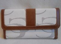 Ivory Cleto Cc Pattern Trifold Wallet With Removable Checkbook Cover