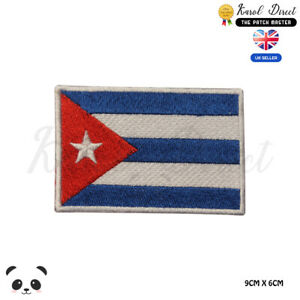 CUBA-National-Flag-Embroidered-Iron-On-Sew-On-Patch-Badge-For-Clothes-etc