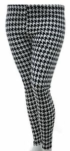 Brand-New-Leggings-Houndstooth-Dogtooth-Black-amp-White-Stretch-Girls-Womens-LICK