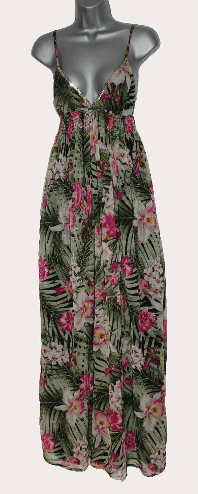 MONSOON Green Tropical Print Embellished Spaghetti Straps Summer Maxi Dress UK M