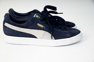 Puma-Mens-Womens-Suede-Classic-Shoes-Sneakers-Peacoat-White-US-5-Navy-35656851