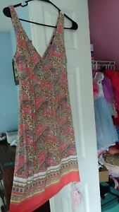 Womens-Extra-Small-Size-Red-Paisley-Old-Navy-Dress