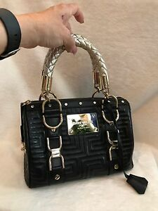 1d7fe2be34 Image is loading VERSACE-COUTURE-Black-Leather-MADONNA-034-Snap-Out-