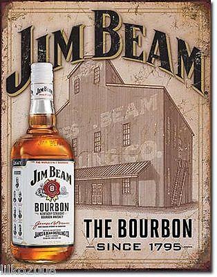 DISTILLERY JIM BEAM BOURBON WHISKEY LARGE METAL WALL SIGN 41X31cm PUB//BAR//DEN