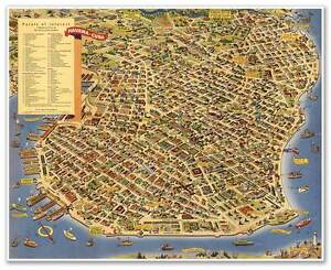 Tourist Pictoral Street MAP Art Print Poster Of Vintage HAVANA Cuba - Vintage map of cuba