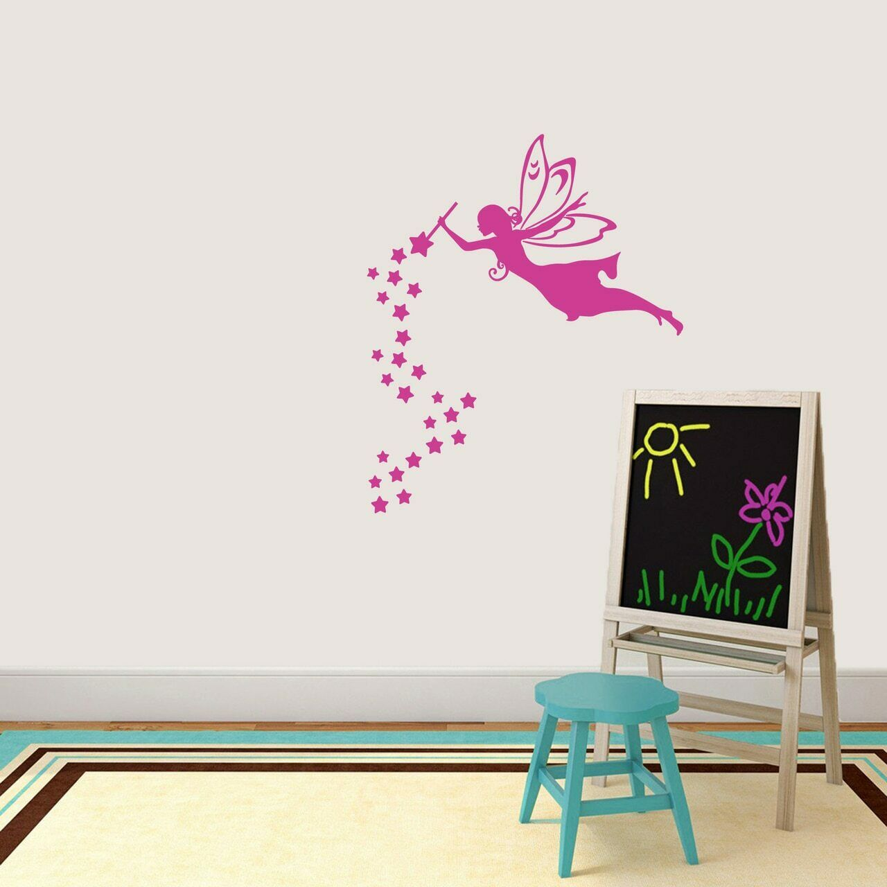 Fairy With Wand And Stars Wall Decal - Kids, Teens, Girls, Princess, Fairy Tale