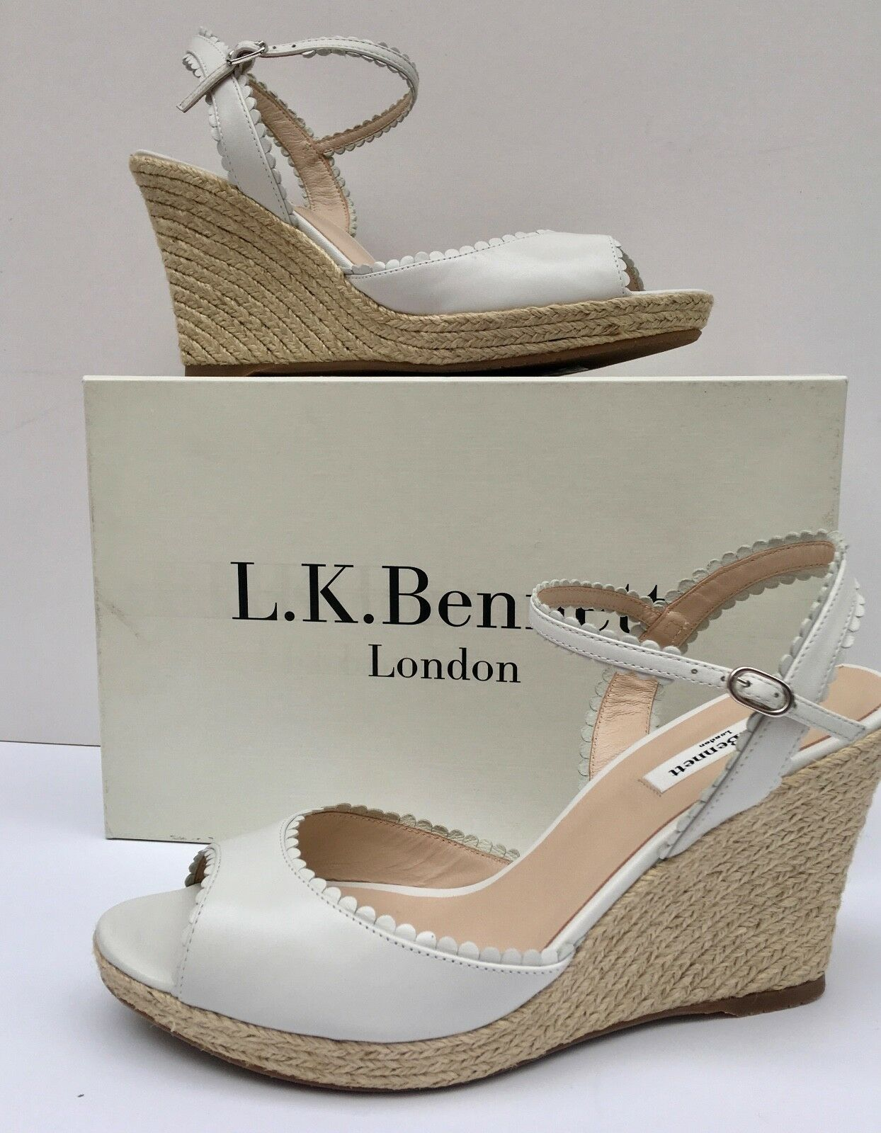 NEW was   LK BENNETT EU41 UK8 'SEVE' OFF WHITE LEATHER 4  WEDGE -ANKLE STRAP