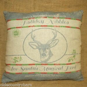 Holiday-Nibbles-for-Santa-039-s-Magical-Herd-Christmas-Pillow-Primitives-by-Kathy