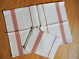 Details about Antique 2 French tea Towels Linen Metis VINTAGE orange stripe  Country kitchen