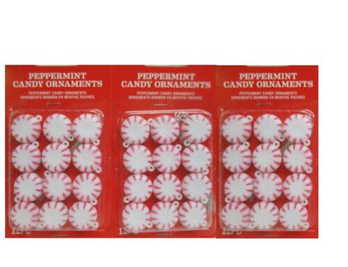 """Sugared Candy Cane peppermint Ornaments .75/"""" MINIATURE Christmas 36 pc"""