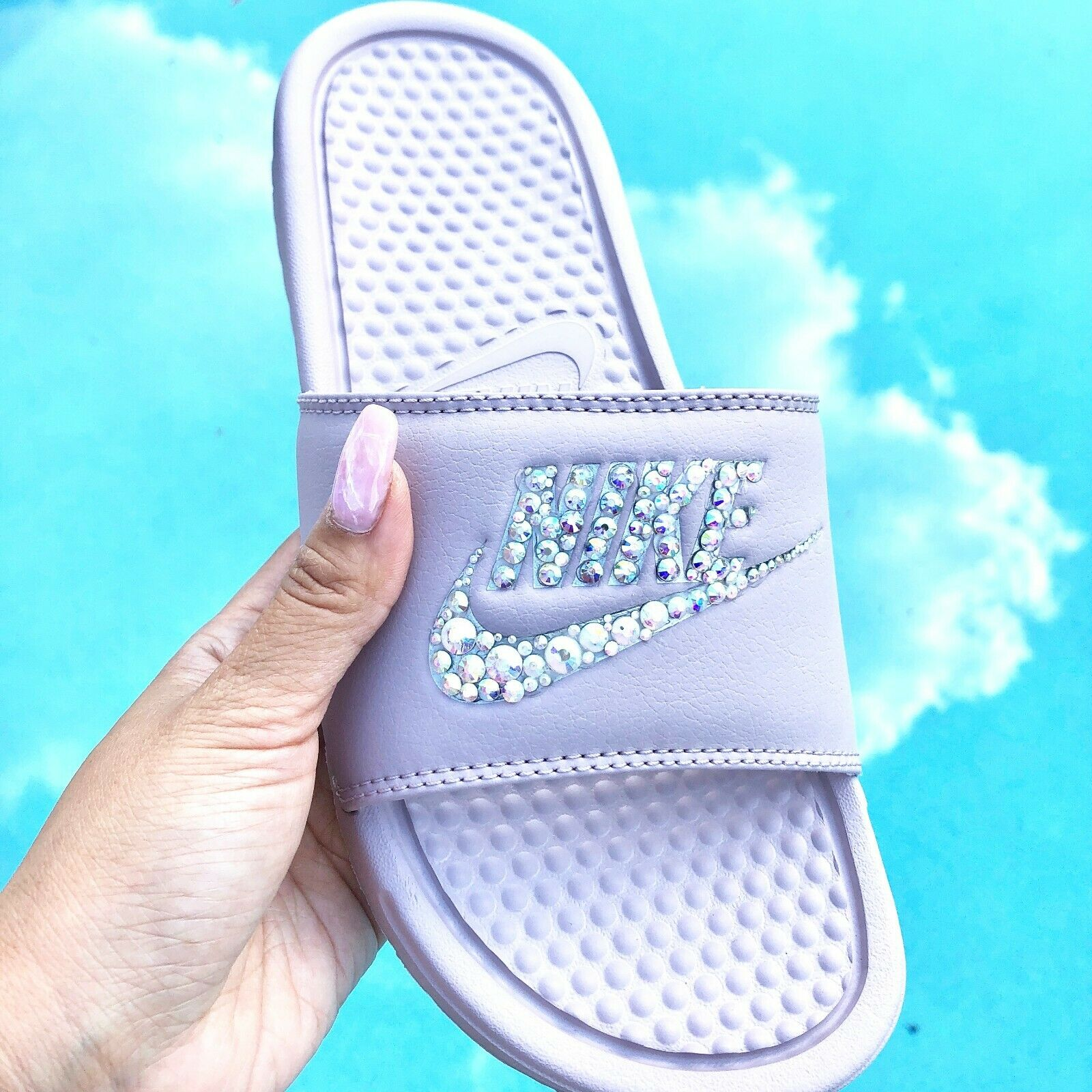 142e90a625ec65 NWT Nike Womens Slides Sandals Swarovski Crystal Bling Bedazzled bluesh Size  8