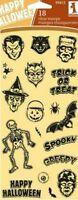 Inkadinkado Clear Stamp Set 18 Spooky & Creepy Halloween Faces Skeleton Bat