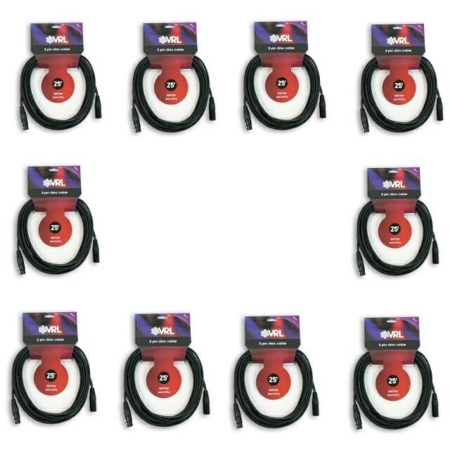 10 VRL 3 PIN 25'ft DMX Lighting Cables für DJ LED Par Lights Systems