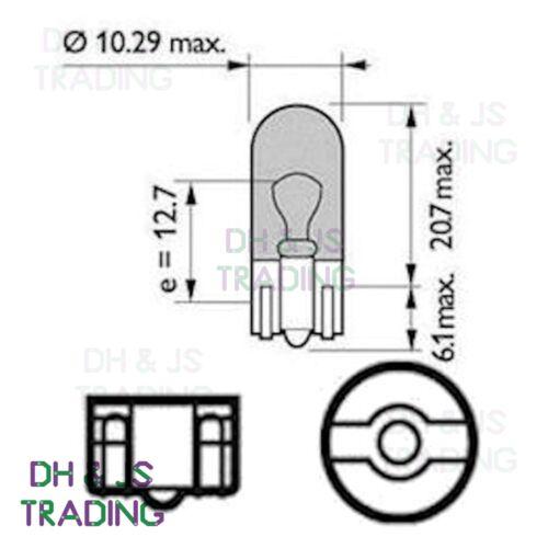 10 x 501 Sidelight Capless Bulb Bulbs Car Auto Van Vauxhall Corsa B 1993-2000