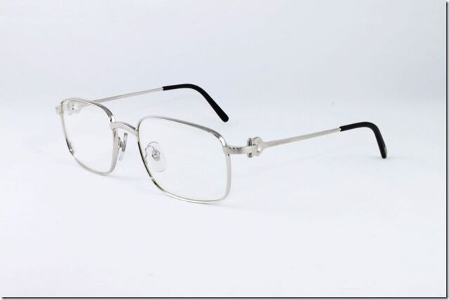 e7f89059a7 Cartier Eyeglasses Frames Rxable Square Platinum T8100456 Authentic New  54-20