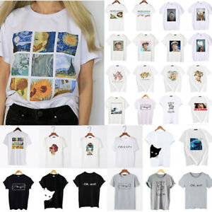 Womens-Ladies-Short-Sleeve-T-Shirt-Tee-Tops-Summer-Casual-Loose-Blouse-Top-White