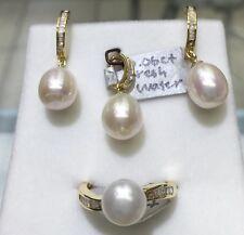 14k Solid Yellow Gold Diamond N Fresh Water Pearl Ring,earrg N Pendant Set.D.35c