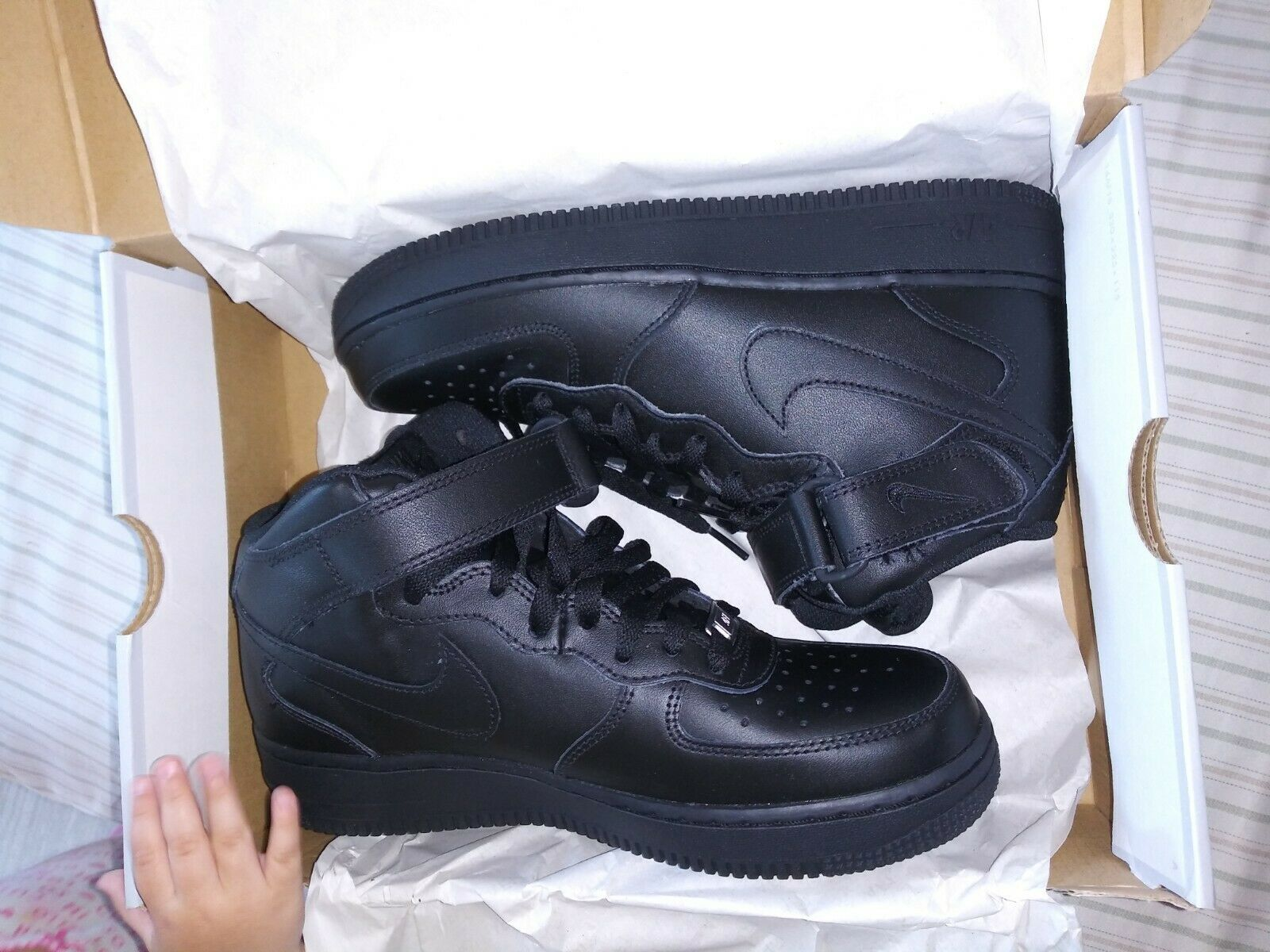 Nike mens size 7.5 black high top AF1s brand new with box an reciept