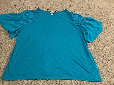 Ava /& Viv Women's Plus Embroidered Shoulder Short Sleeve T-Shirt 1X 2X 3X #29