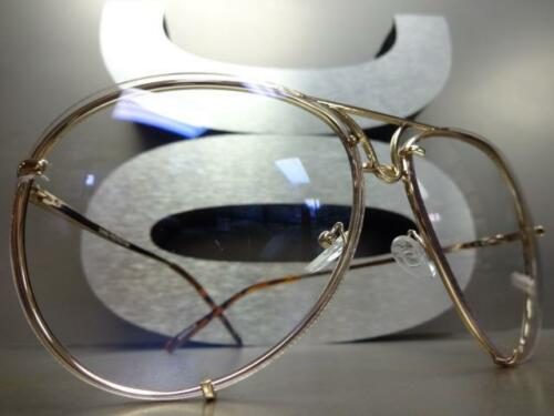 OVERSIZED VINTAGE RETRO Style Clear Lens EYE GLASSES Large Metal Fashion Frame