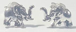 Elephant Stud Earrings 925 Sterling Silver Animal Trunk up  # 19