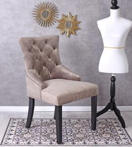 Ring-Stuhl-Metallgriff-Esszimmerstuhl-Nieten-Wohnzimmerstuhl-Samt-Sessel-Luxus