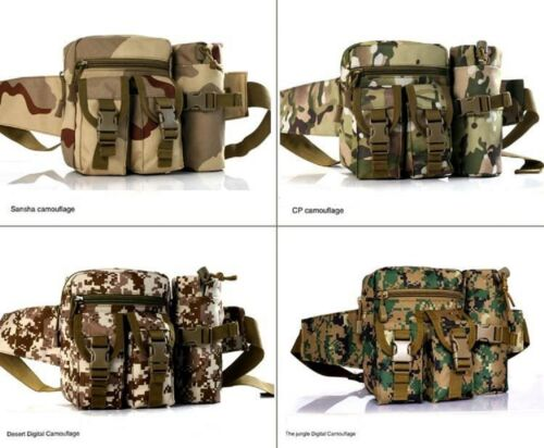 Holder Pouch Sports Military Belt Waist Bum Bag Fanny Pack Storage+Water Bottle