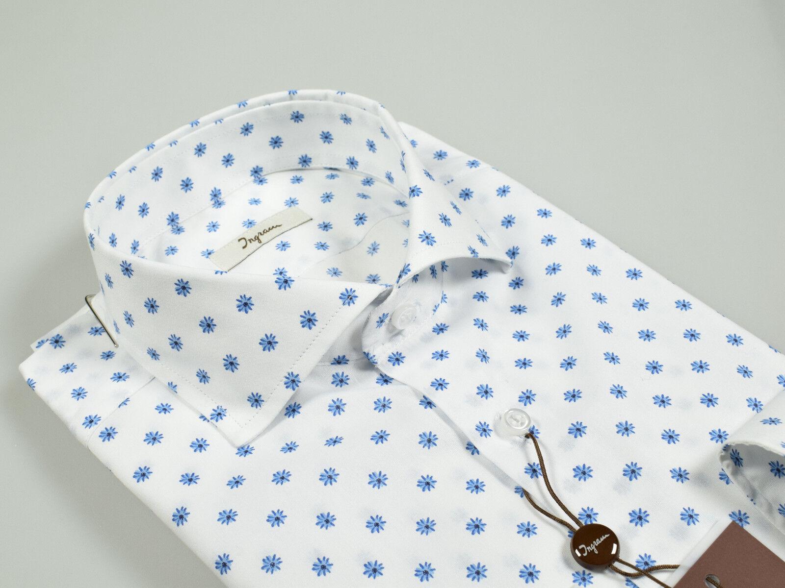 Camicia Ingram Slim Fit Cotone Stretch Collo alla Francese Fantasia Floreale