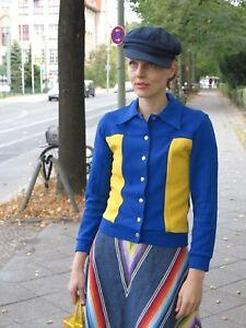 '70 sportiva Giacca anni Giacca blu giallo in misto '70 anni vintage Giacca blu giallo cotone rrZxFd7
