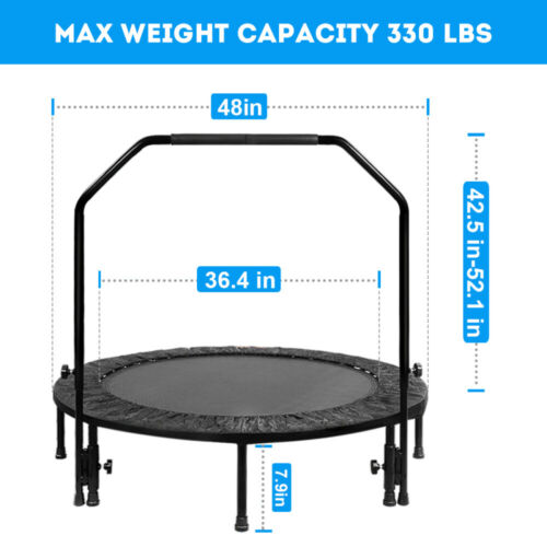 """Details about  /48/"""" Fitness Trampoline Mini Rebounder Fitness Foldable Gym Cardio Jump Trainer"""
