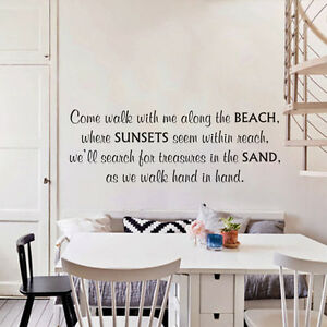 Come Walk With Me Along The Beach Wall Decal Inspired Quote Vinyl