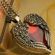 Retro Vintage Bronze Heart Angel Wing with Red Rhinestone Long Necklace Pendants