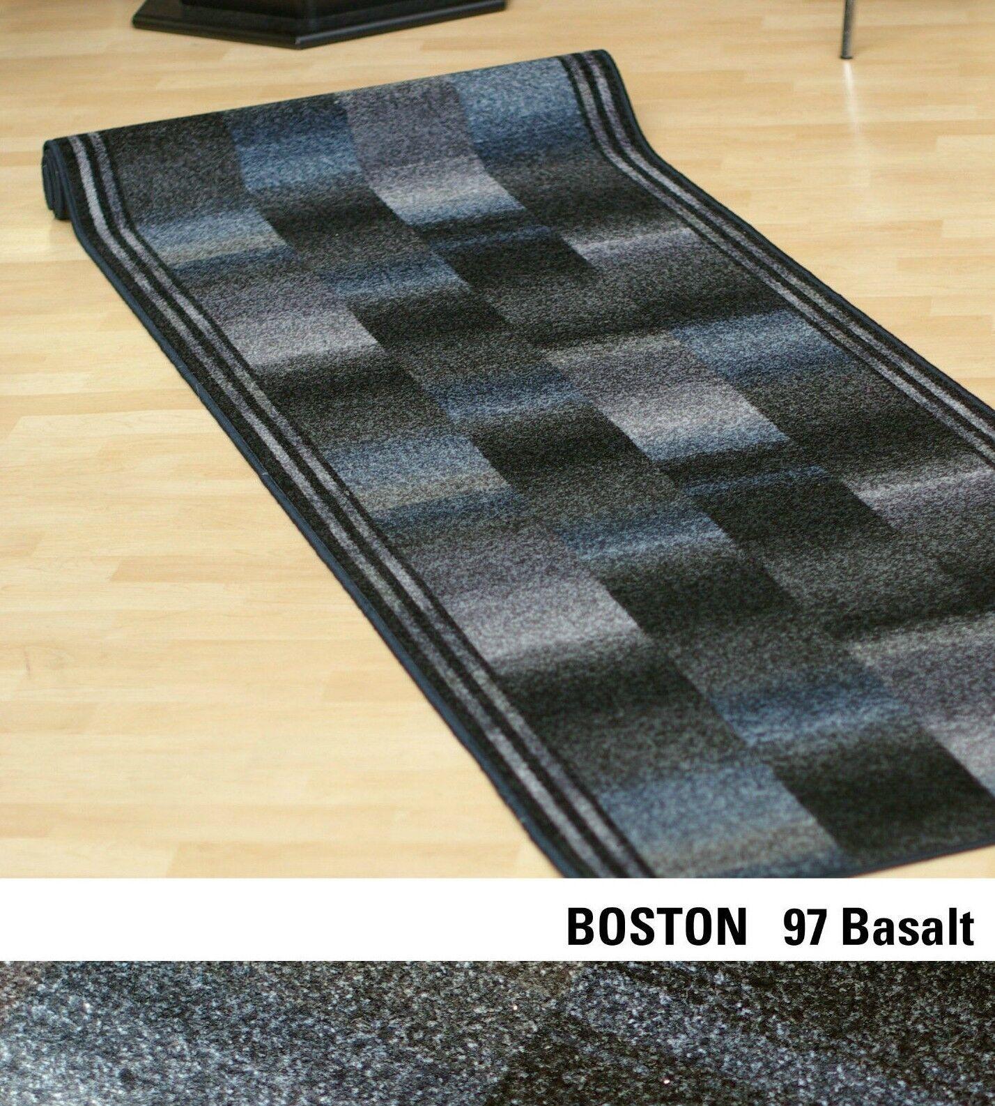 Moderno Velluto Tappeto lungo   Boston 97 Basalt Grigio   80 Larghezza Cm