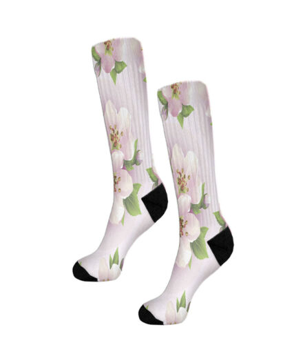 Beige Orchid Flower Fun Crazy Cool Novelty 11 Inch Men Women Socks
