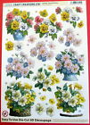 """A4 DIE CUT 3D DECOUPAGE """"POTS OF FLOWERS"""" SHEET NO CUTTING EASY TO USE DCD505"""